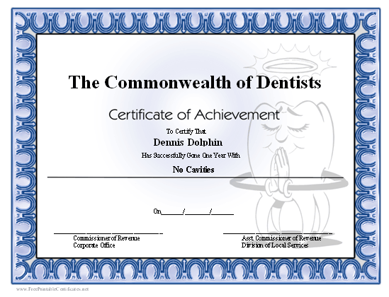 No Cavities certificate