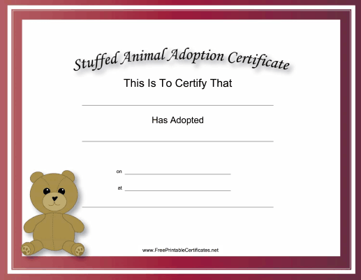 Adoption Certificate Stuffed Animal Bear Academic