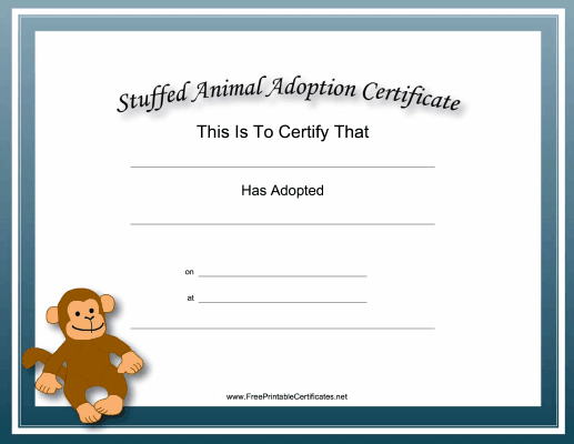 Adoption Certificate Stuffed Animal Monkey Academic
