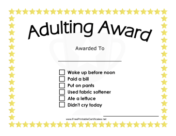 Adulting Award