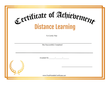 Certificate Of Achievement Distance Learning