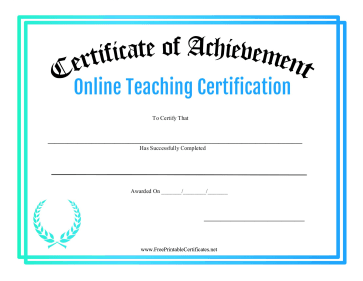 Certificate Of Achievement Online Teaching Certification