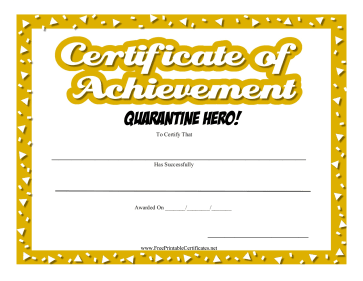 Certificate Of Achievement Quarantine Hero