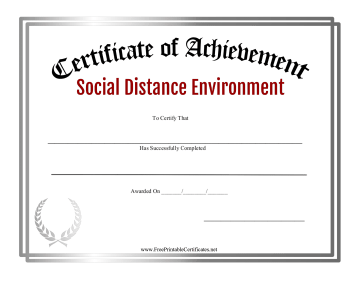 Certificate Of Achievement Social Distance Environment