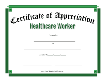 Certificate Of Appreciation Healthcare Worker