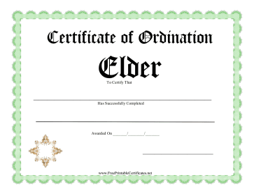 Certificate Of Ordination Elder
