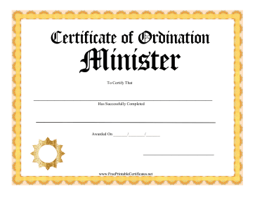 Certificate Of Ordination Minister