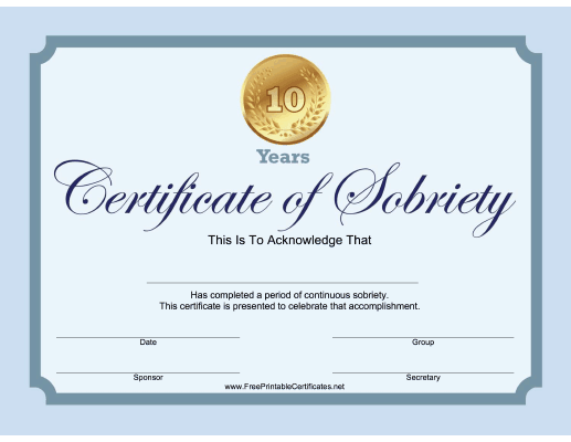 10 Years Sobriety Certificate (Blue)