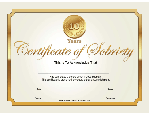 10 Years Sobriety Certificate (Gold)
