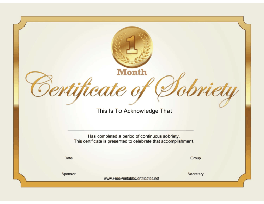 1 Month Sobriety Certificate (Gold)