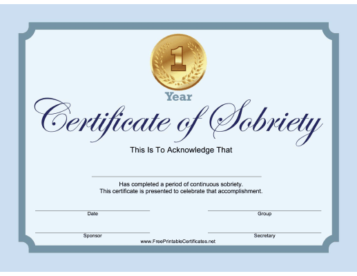 1 Year Sobriety Certificate (Blue)