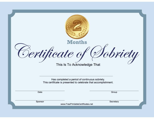 2 Months Sobriety Certificate (Blue)