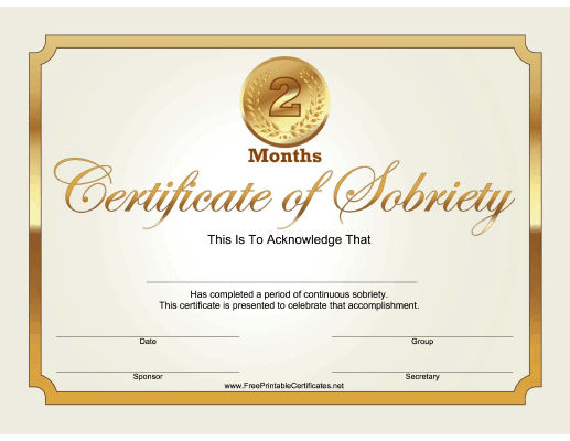 2 Months Sobriety Certificate (Gold)