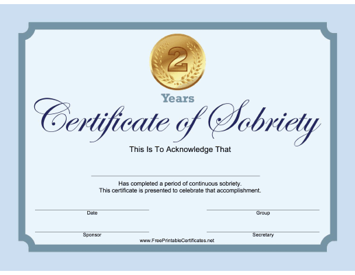 2 Years Sobriety Certificate (Blue)