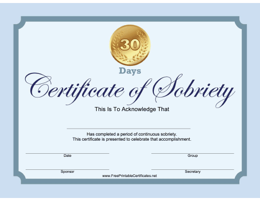 30 Days Sobriety Certificate (Blue)