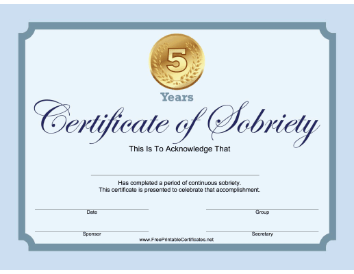 5 Years Sobriety Certificate (Blue)