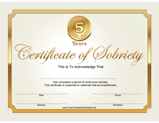 5 Years Sobriety Certificate (Gold)