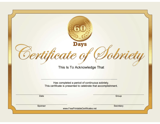 60 Days Sobriety Certificate (Gold)