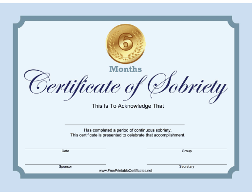6 Months Sobriety Certificate (Blue)
