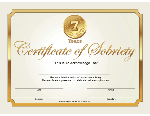 7 Years Sobriety Certificate (Gold)