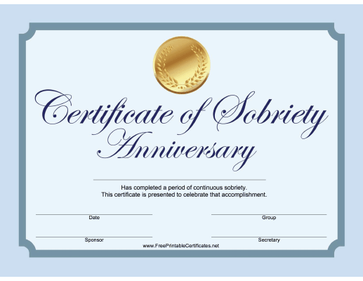 Sobriety Anniversary Certificate (Blue)