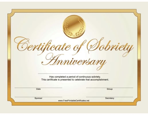 Sobriety Anniversary Certificate (Gold)