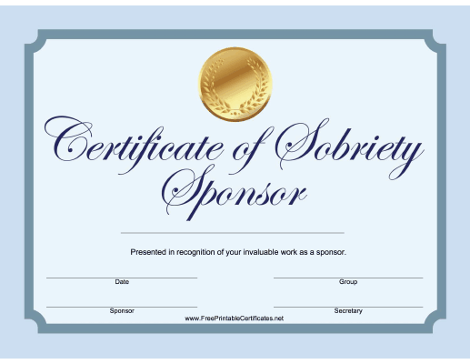Sobriety Sponsor Certificate (Blue)