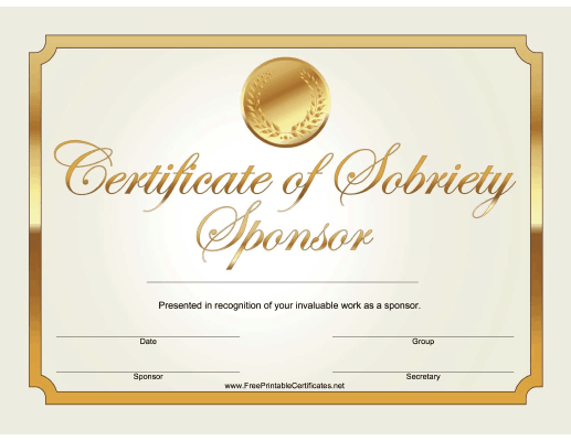 Sobriety Sponsor Certificate (Gold)