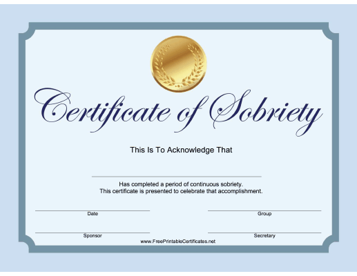 Sobriety Certificate (Blue)