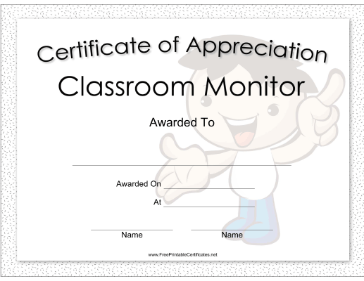 Classroom Monitor Appreciation Boy