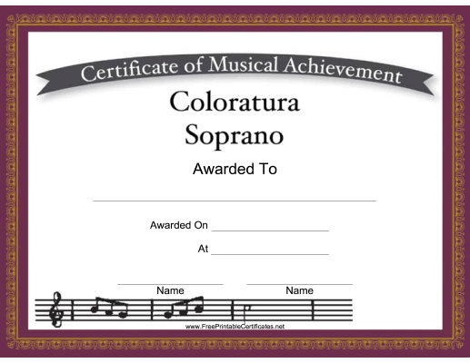 Coloratura Soprano Vocal_Music_Certificate
