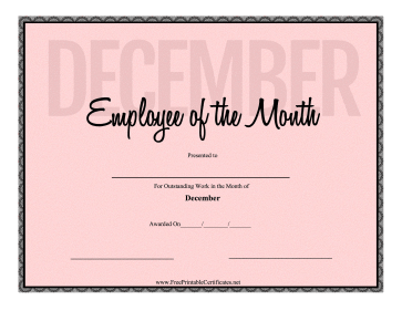 Employee Of The Month December