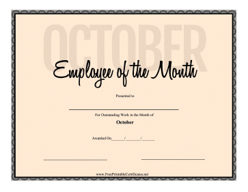 Employee Of The Month October