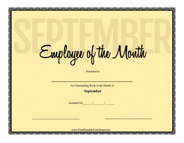 Employee Of The Month September