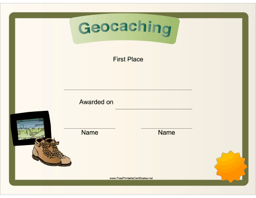 Geocaching First Place