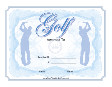 Golf Certificate Blue