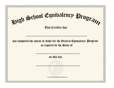 High School Equivalency Diploma