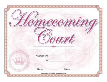 Homecoming Court Certificate Girl