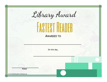 Library Award Fastest Reader