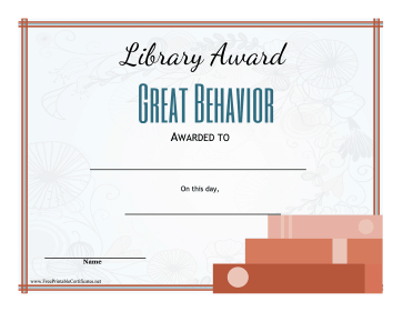 Library Award Good Behavior