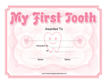 My First Tooth Certificate Pink