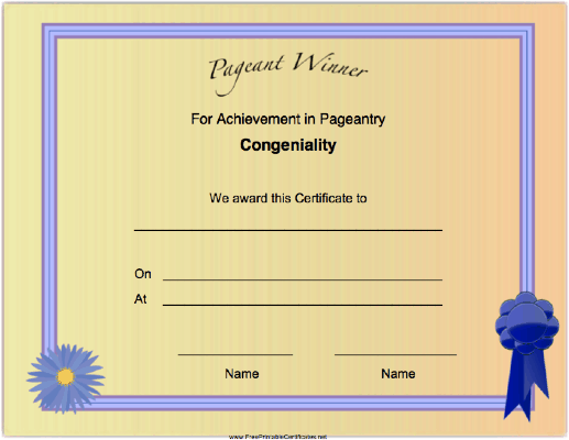 Pageant Congeniality Achievement