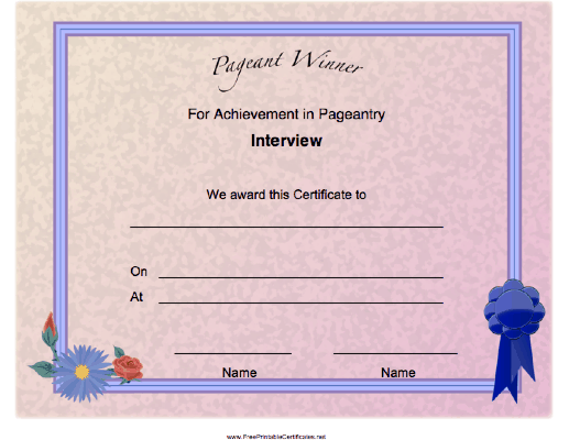 Pageant Interview Achievement
