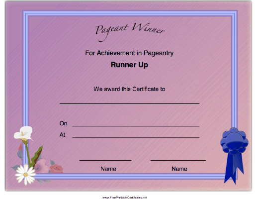 Pageant Runner Up Achievement