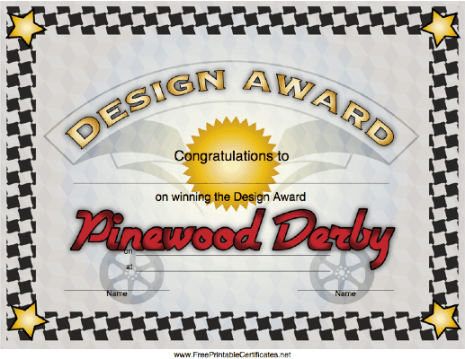 Pinewood Derby Design Award
