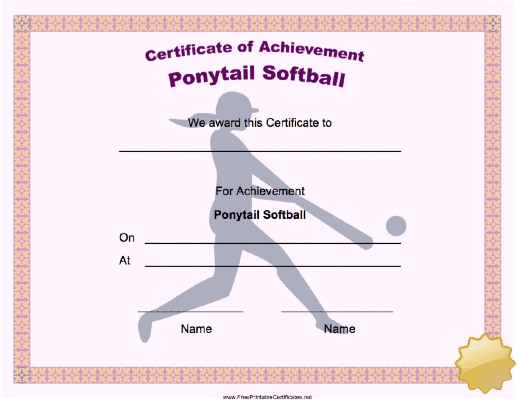 Ponytail Softball Achievement