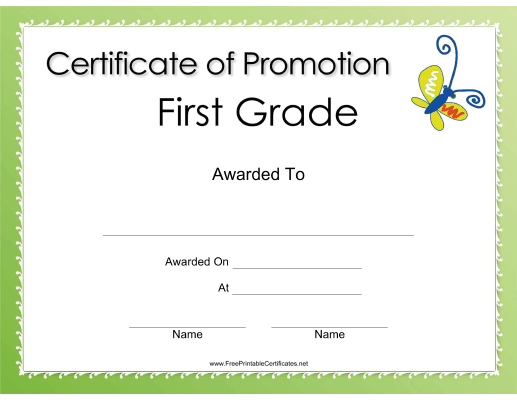 First Grade Promotion
