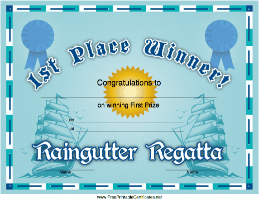 Raingutter Regatta 1st Place