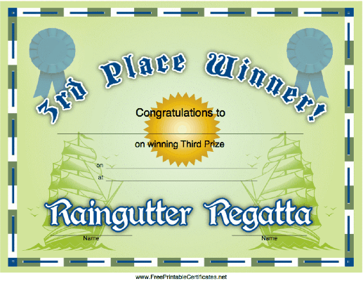 Raingutter Regatta 3rd Place