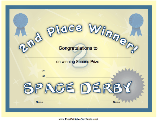 Space Derby 2nd Place